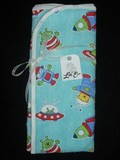 Pair of Burp Cloths with Aliens, Spaceships, and Rockets *Slight Second*